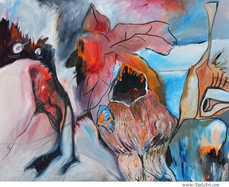 The Elk and The Owl, Oil on Canvas, 48″x60″, Yael Zahavy-Mittelman