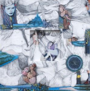 """The Storyteller, Mix Media, 24""""x24"""", By the artist Yael Zahavy-Mittelman"""